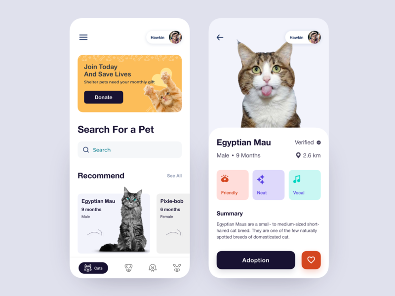 Pets Adoption App pet design pet shop pet app adopt clean animal card booking app product social app app mobile app book search dog adoption pet adoption pet care pet cat
