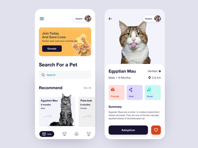 Pets Adoption App pet design pet shop pet app adopt clean animal card booking app product social app app mobile app book search dog adoption pet adoption pet care pet cat