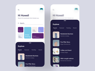 Podcast Mobile App dashboard real estate hotel app search audio player audiobook podcast ui ux design uiuxdesign booking book player social social app music app startup podcasts streaming app podcasting podcast