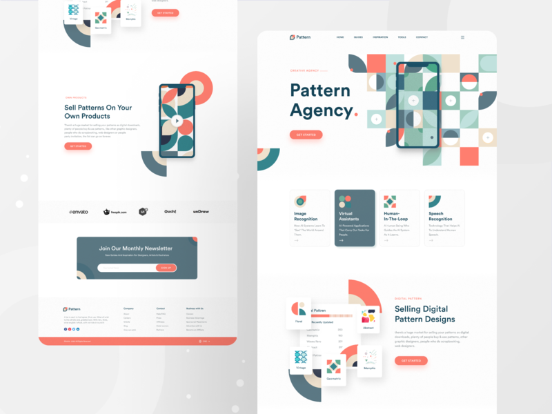 Pattern Agency Landing page 2020 trend redesign concept agency branding brand design agency website pattern design pattern uiux ui design ui webdesign creative landingpage website landing page website concept minimal uidesign landing page design