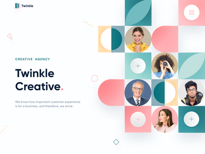 Twinkle II Creative Agency Landing page agency website redesign clean design branding web web design minimalist website design userinterface ui webdesign website popular shot color creative landing page ui concept 2020 trend uidesign landingpage