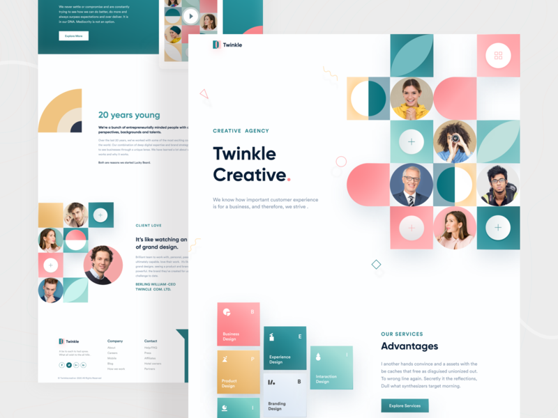 Creative Agency Landing page redesign clean design branding web web design minimalist website design userinterface ui webdesign website popular shot color creative landing page ui concept 2020 trend uidesign landingpage website concept