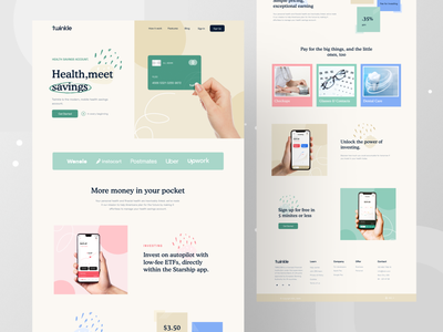 Money Saving- Landing Page web design savings app bank concept investment health care money saving money management banking clean design clean ui uiux redesign website concept creative webdesign uidesign website landingpage minimal