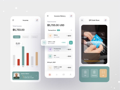 Fintech:  Mobile Banking App financial fintech finance credit card qr code design mobile design appuidesign app design trend2021 popular bank app banking banking app financial app finacial mobile app mobile mobile ui mobile app design finance app