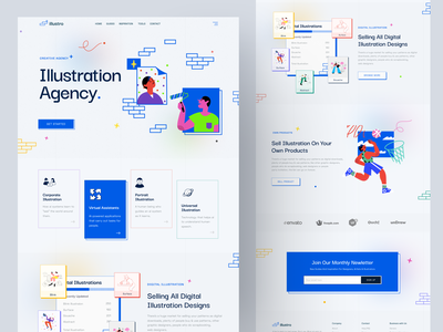 Retro: Illustration Agency Landing Page product trend2021 colorful illustration agency agency website agency responsive design web design web website concept illustration landingpage retro logo retro font retro design retro creative webdesign website concept