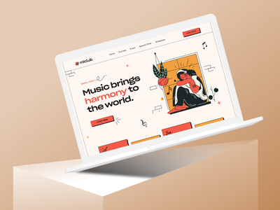 Musical Course  Web Exploration  🎻 ui design popular trand2021 tranding uiux redesign onlinecourse retro webdesign website design landing page design website concept uidesign landingpage minimal