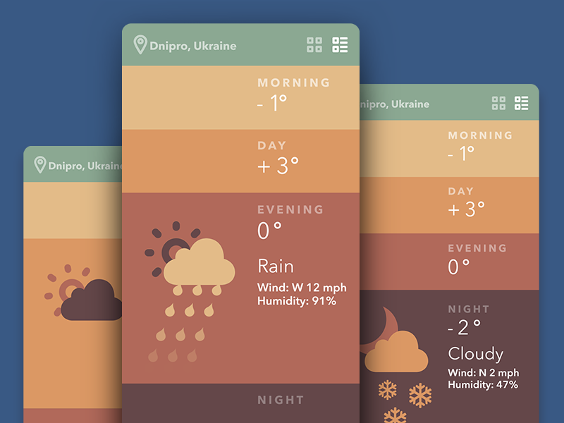 Weather App Screens ui ux gif animation interface flat ios8 appdesign ukraine winter christmas