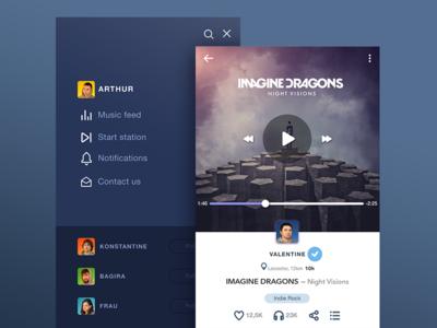 ECHO App v2.1 ui ux appdesign flat socialnetwork player gif animation ios8 ukraine feed interface
