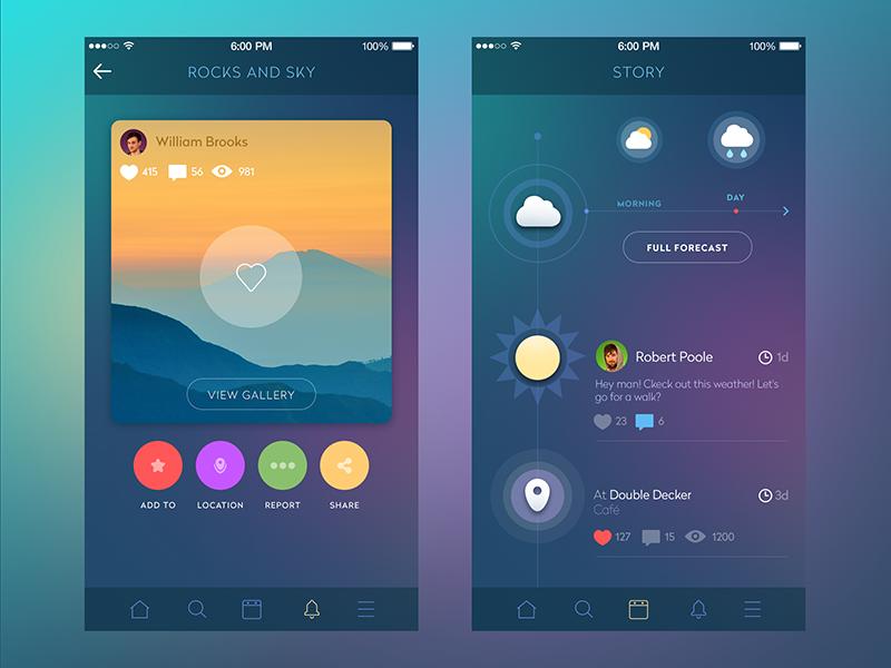 Social Network mobile interface feed ukraine material socialnetwork flat appdesign ux ui