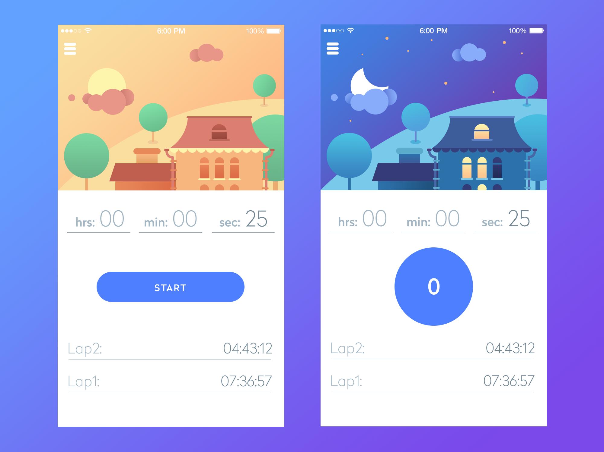 Timer app real pixels size