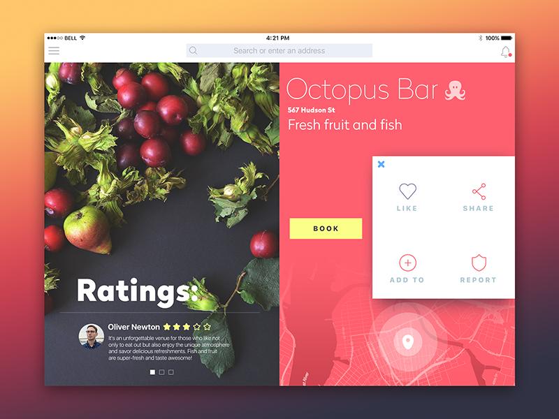 Octopus Bar iPad App ui ux flat social network material ukraine feed interface mobile app design ipad