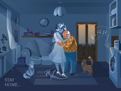 Grandma night family room quarantine cats grandpa grandma home stay home stayhome people human postcard charactedesign cute art art design adobe illustrator vector illustration