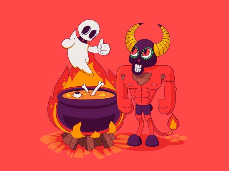 Demon ghost hell fire flame eat dinner devil demon cute character design character bikini postcard charactedesign art cute art design adobe illustrator vector illustration