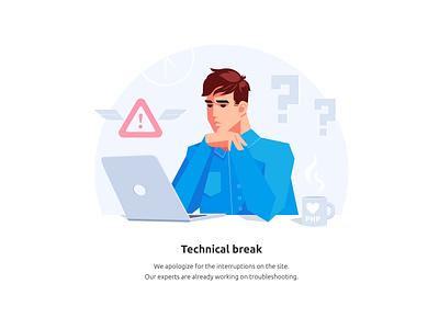 Technical break work webdesign website management workspace error page error notebook design art web php programmer man character art charactedesign ui adobe illustrator vector illustration