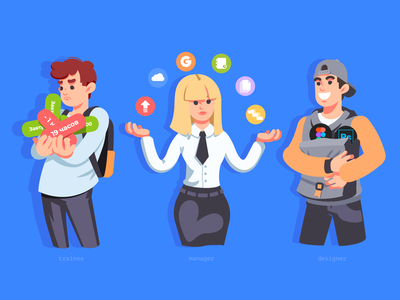 Trainee, manager, designer designer manager trainee woman man humans people illustration people character charactedesign design art art cute art design adobe illustrator vector illustration