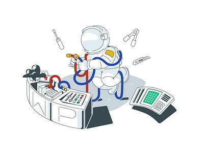 XWP test repairs figure astronaut spaceman cosmonaut color dashboard art ui character branding charactedesign cute art design adobe illustrator vector illustration