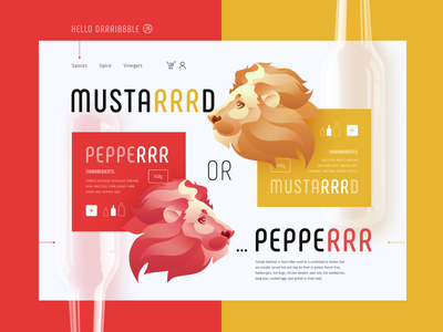 Hello drrribbble! hello dribbble site web mustard ketchup peper lion head lion vinegars space sauces cute art typography branding vector design ui illustration cute animals animals illustrated
