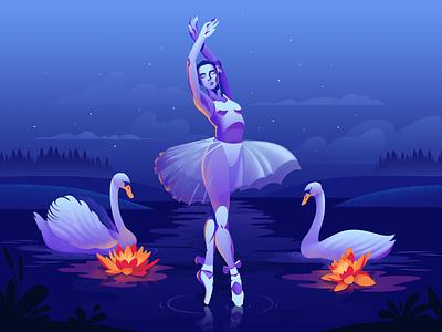 Swan Lake magic lake dance nature girl ballet ballet dancer ballerina blue night landscape illustration landscape swan swan lake design art adobe illustrator postcard art vector illustration