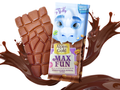 Alpen Gold Max Fun redesign (recommended by Yeti) diy candy charactedesign art design cute art design art chocolate packaging redesign concept yeti adobe photoshop branding chocolate packaging packagingdesign