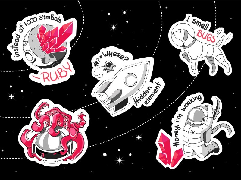 Open space stars dog moon rocket spaceman astronaut cosmonaut cosmos space ruby programmers stickers design art animals illustrated charactedesign cute art art adobe illustrator vector illustration