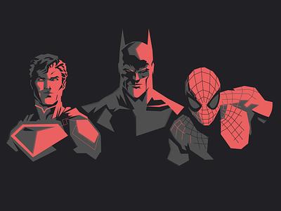 Batman, superman and neighbor boy crossover spiderman batman superman marvel comics marvel charactedesign dc comics dc postcard design art design art adobe illustrator vector illustration