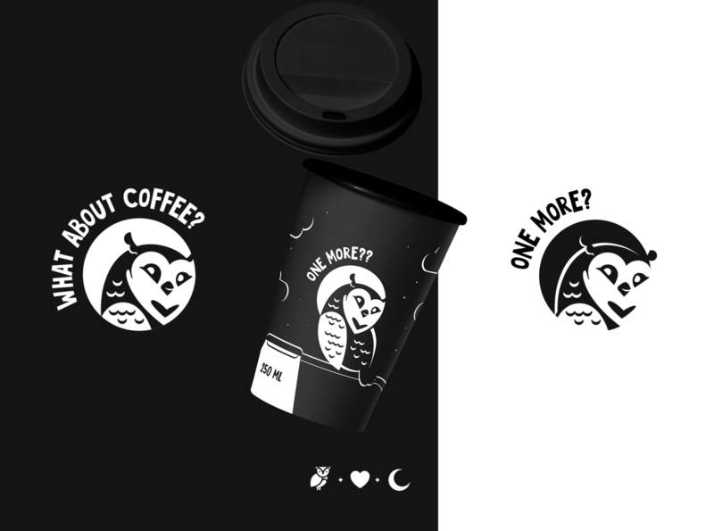 Owl coffee logo packaging black  white owl logo coffee cup coffee owl logodesign print logo animals illustrated branding charactedesign cute art design art design art adobe illustrator vector illustration