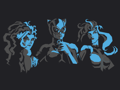 Catwoman, poison ivy and silver sable print noise shadow negative negative space marvel comics marvel silver sable poison ivy catwoman superwoman superhero girls bikini dc comics dc art design adobe illustrator vector illustration