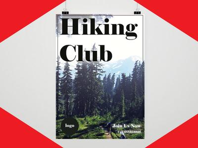 Hiking Club Flyer resume flyer poster business card startup blogger vlogger red branding logodesign graphicdesign