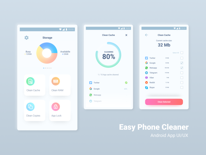 Easy Phone Cleaner Android App UI/UX cleaners cleaning app clean design cleaner user experience dailyui ios ios app clean application ui ux user interface uiux