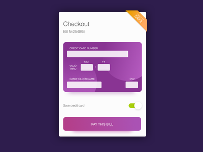 Credit Card Checkout - Daily UI №2 dailyui002 ios mobile app checkout credit card ux user interface uiux daily dailyuiday2 dailyui