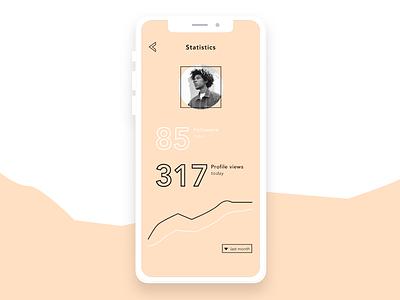 UI Concept: Social Media statistics typography concept statistics clean modern flat webdesign mobile social media app ux ui