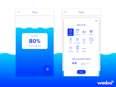 Mobile App: Wadoo - Main screen health ui ux design modal mobile app gradient material