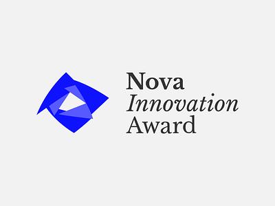 Logo design: Nova Innovation Award identity wordmark mark color baskerville libre type typography symbol logo design