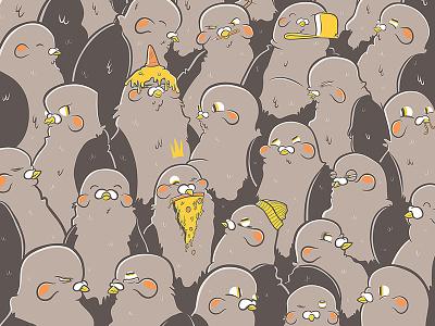 Pigeons cartoon vector animals pigeon graffiti art illustration
