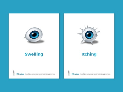 Winolap app mobile banner splash screen ui-ux web itching swelling pharma drops eye emailer healthcare