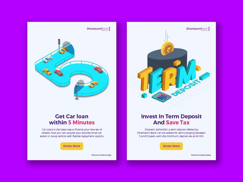 Dhanalakshmi Bank ui-ux minutes 5 rupee invest deposit term tax save car loan car illustration graphic design booking ui design discount web offer app