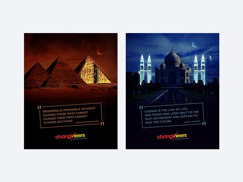 Changineers pyramid agra egypt tajmahal monuments classic encouragement motivational design ui-ux graphic design pharma ui design healthcare emailer web app