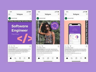 Instagram—Wonderbank Dribbble recruitment production design marketing branding bank socialmedia instagram