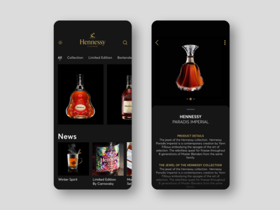 Hennessy Cognac mobile app concept, drink application design