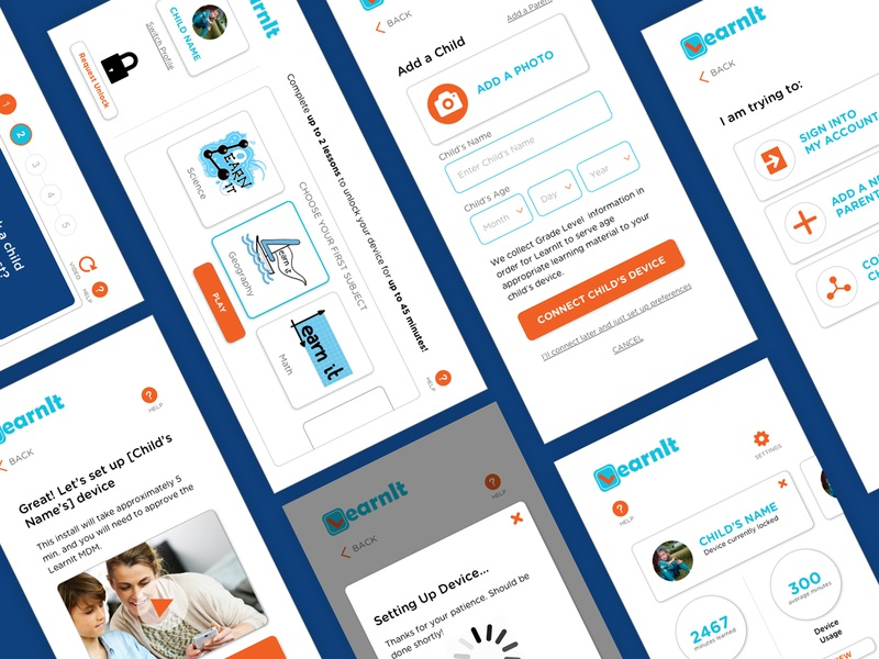 LearnIt app - UI screens gamification education components app mobile ux ui design