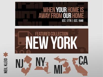 Homestate Gear - Site Assets homestate t-shirt design branding brand components banners marketing website