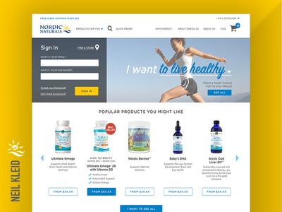 Nordic Naturals website — in-progress Home Page design navigation ecommerce sketch layout home page ui ux design web website