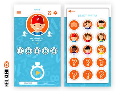 Math Done Write App - Home screen & Avatar Selection visual design visual ui ux design math education android ios mobile app