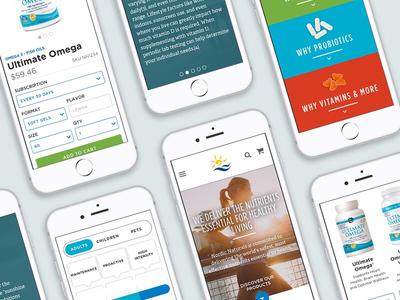Nordic Naturals - mobile responsive website b2c wireframes interaction ui ux design site phone mobile responsive mobile website ecommerce