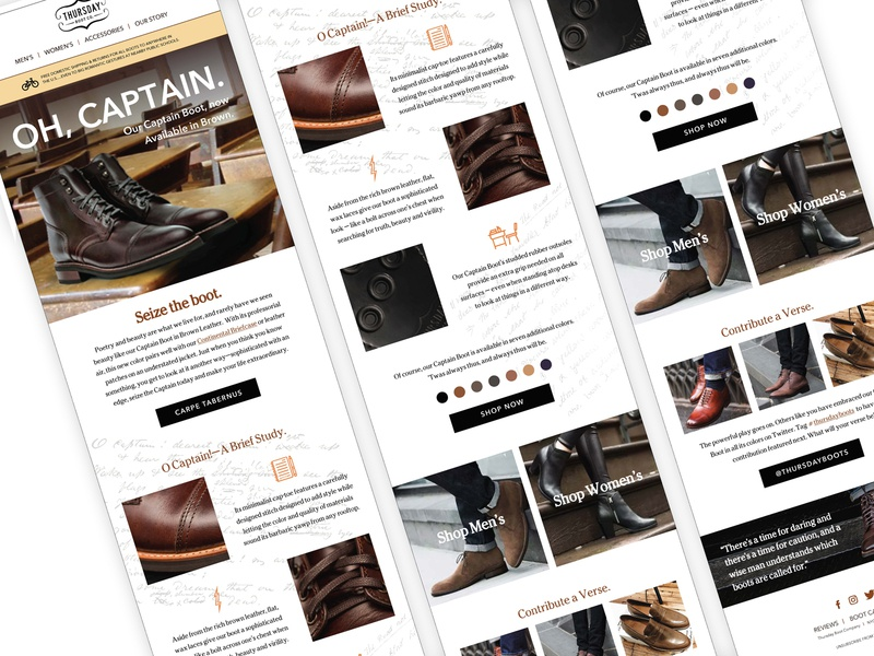Thursday Boot Company: Email Design Exercise template email design email branding brand ecommerce mobile design