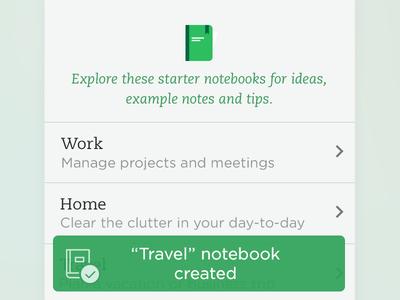 Notebook created toast