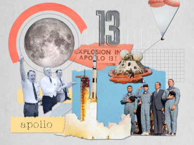 50th Anniversary of Apollo 13 photograph collage 2d design animation illustration spaceship rocketship stars planet earth moon rocket 13 apollo astronaut outerspace space