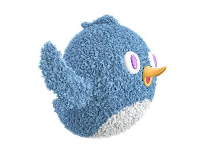 Cute stuffed animal - little bird illustration c4d