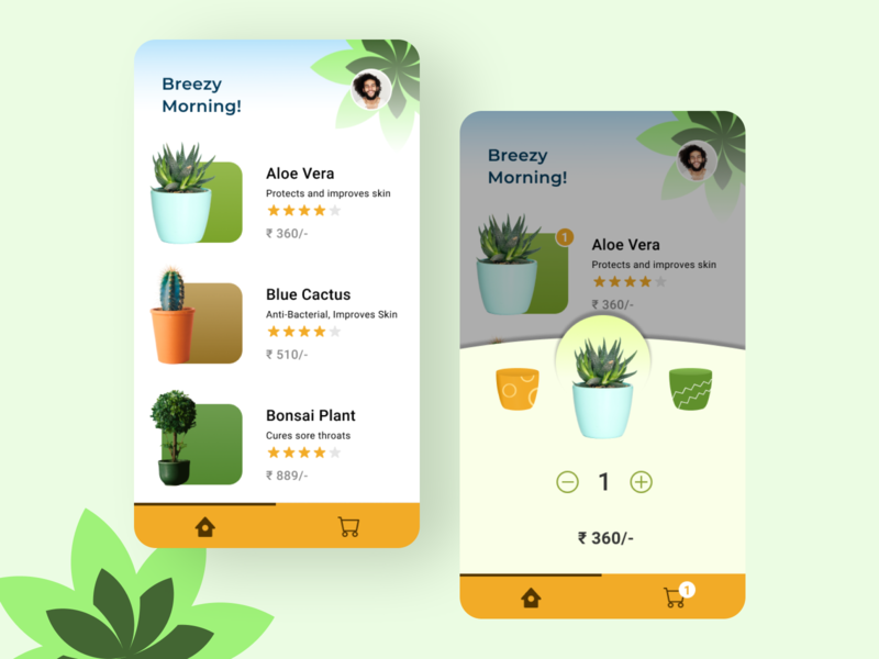 Plants E-commerce UI typography branding ux ui app illustration vector minimal flat design