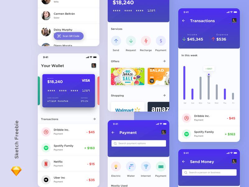 Mobile Wallet Concept ( Sketch Freebie ) user experience design user interface wallet vector illustration app branding flat ui ux design minimal